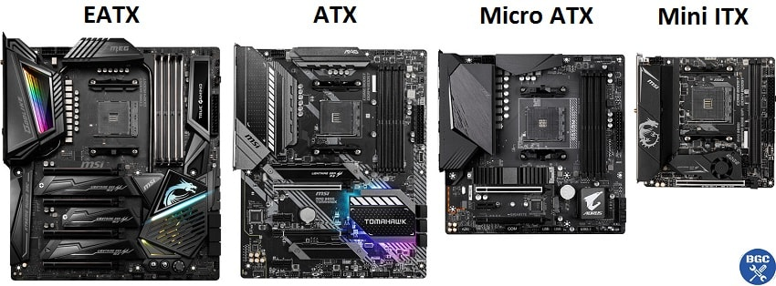 The 4 most common desktop motherboard sizes side by side